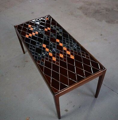 Danish vintage rosewood coffee table with decorative tiles, by Bjørn Wiinblad