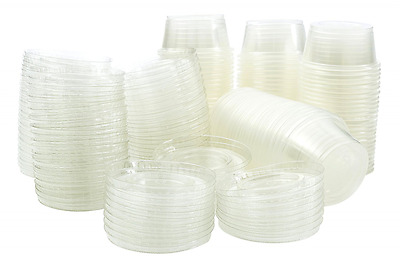 Disposable 4 oz Jello Shot Plastic Portion Cups with Lids, Clear Condiment Cups,
