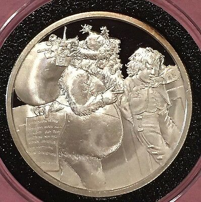 Holiday Coin Santa Child 1 Troy oz .999 Fine Silver Collectible Round Christmas