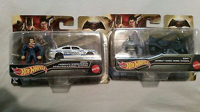 batman and superman mini figures and hot wheel cars...new
