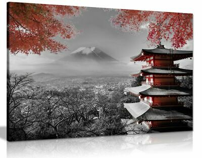 Japanese Temple In Autumn Black White Red Canvas Wall Art Picture Print