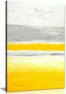 Stylish Trendy Abstract Yellow Grey Home Office Painting Canvas Wall Art Print
