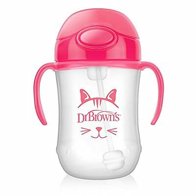 New Dr. Brown's Baby's First Straw Cup, Cute Critters Pink, 9 ounce, Single free