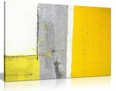Office Decor Grey And Yellow Abstract Art Painting Canvas Wall Art Picture Print