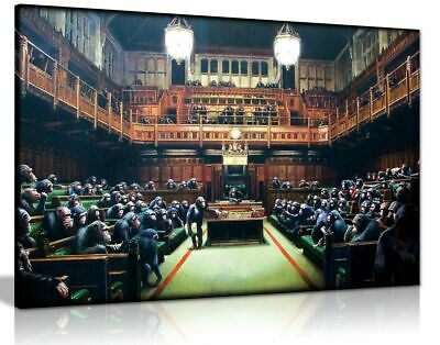 Banksy Monkey Parliament Canvas Wall Art Picture Print