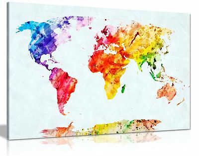 Watercolour Painting Map Of The World Canvas Wall Art Picture Print