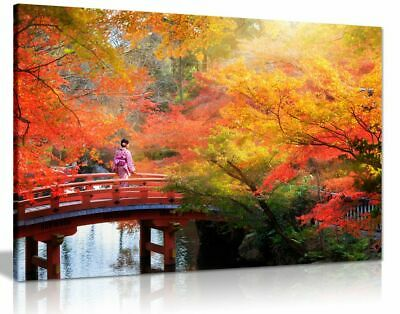 Japanese Autumn Leaves Trees Canvas Wall Art Picture Print
