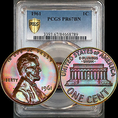 1961 Proof Lincoln Cent 1C PCGS PR67BN - Colorful Cotton Candy Rainbow Toning