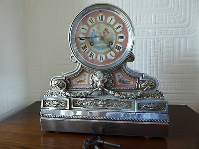 Antique - French Late 19th century - Silver & Porcelain Mantle Clock