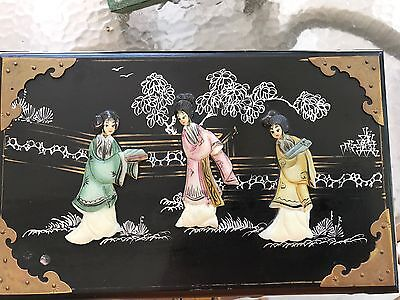 Vintage Oriental Black Laquer Jewelry Box Brass Fittings 2nd Drawer & Mirror