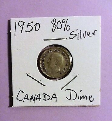 1950 and 1959 Canadian Silver Dimes 80% Silver