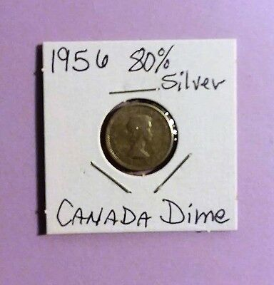 1956 and 1957 Canadian Silver Dimes 80% Silver