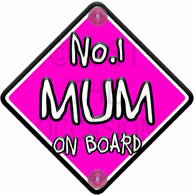 NEW Non Personalised Pink & White ~ NO.1 MUM ~ Baby on Board Car Window Sign
