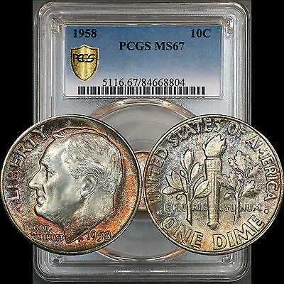 1958 Roosevelt Dime 10C PCGS MS67 - Colorful Toning with Milky White Luster