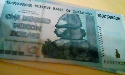 $100 Trillion Zimbabwe Banknote Uncirculated 2008  P91 Usa Shipper!