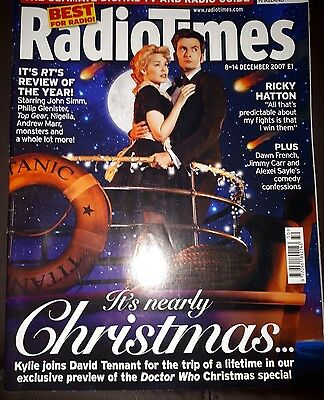 Radio Times 14 December 2007. Doctor Who Cover & 4 Page Feature Kylie Minogue