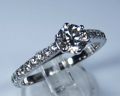 GIA Certified 0.78ct Diamond 18k White Gold Engagement Ring NEW rrp £3500