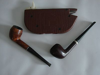 Lot Of 2 Vintage Smoking Pipes Comes With Old Cig Making Device