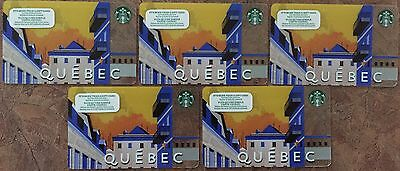 STARBUCKS QUEBEC Rechargeable Gift Cards (Lot of 5) Mint!