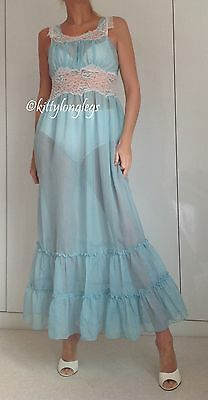 Vintage Turquoise Sheer Glass Nylon Long Nightie Night Dress / Gown size 12