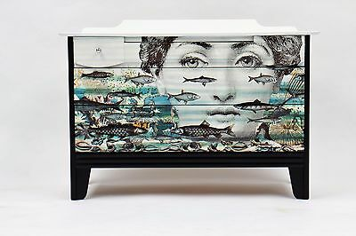 Upcycled Vintage chest of draws with Fornasetti theme