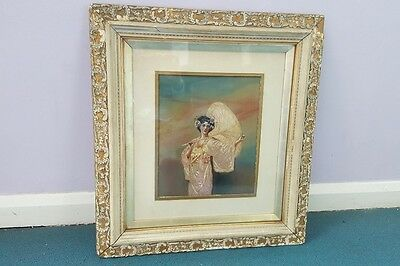 Late 19th Century Framed  Japenese Themed Silk Painted and Embroidered Picture