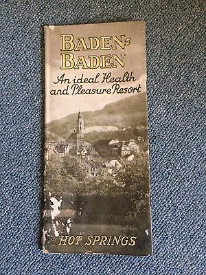 Vintage German Travel  Map Guide History Baden Baden Hot Springs 1930s