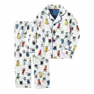 """Carter's Toddler Boy's 2 Pc """" Monster""""  Button Up Pajama Set NWT  2T  3T or  4T"""