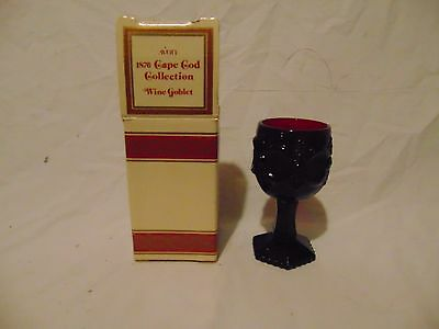 """1980 Avon 1876 Cape Cod Collection Wine Goblet ruby red color glass 4 1/2"""" tall"""