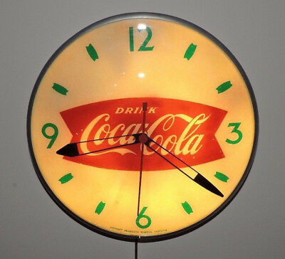 "Rare Original 1950's Coca Cola Bubble Glass advertising Clock Sign !!  "" Nice """