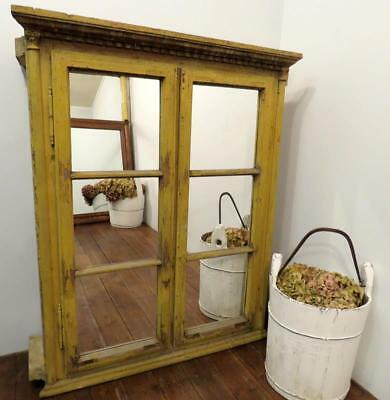 Antique Pine Decorative Window Frame Cupboard With Mirrors 1850 Original Paint