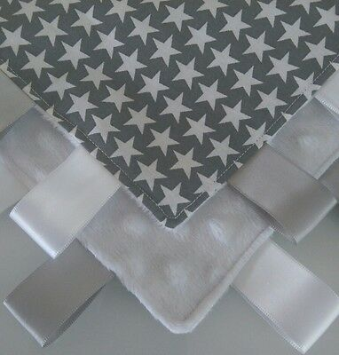 Baby Taggy Tag Blanket 100% Cotton Grey Star & White Minky Scandi Baby Snuggle