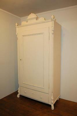 Antique Pine Slim French Storage Cupboard / Linen Cupboard / Small Armoire  1870