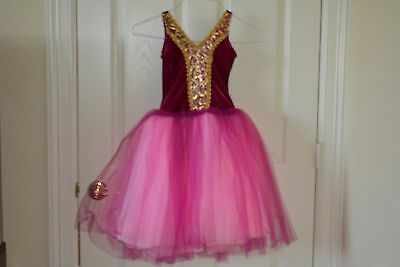 Girls child small pink and gold ballet costume