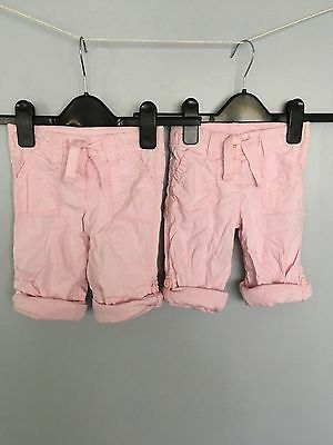 Twins ? Next girls shorts/trousers pink x 2 aged 6-9 months Please take a look..