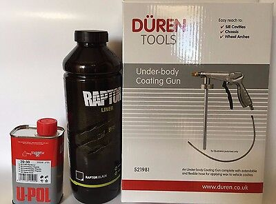 UPOL Raptor BLACK Tough Urethene Coating Truck Bed Liner + Underbody Spray Gun