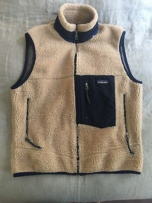 Vintage Patagonia Retro X Fleece Pile Vest Made In USA Medium Oatmeal Blue