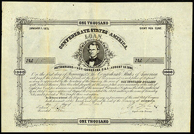 Confederate $1000 Bond with Twenty Coupons LOW SERIAL NUMBER