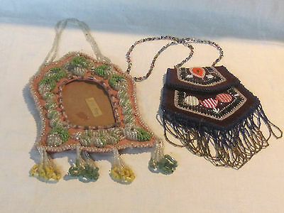 Antique vintage Iroquois beaded picture or mirror frame w/ Iroquois flat bag