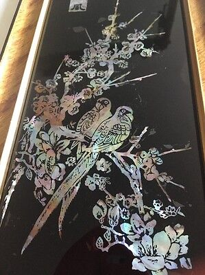 BEAUTIFUL VINTAGE MOTHER OF PEARL PICTURE - Oriental Blossom + Parrots Birds