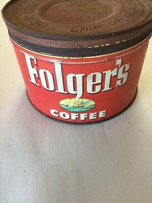 Folger's 1952 Coffee Key Wind Tin With Lid
