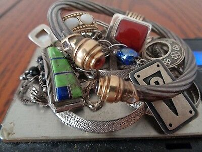 Sterling Silver Scrap Lot of Mixed Jewelry Pieces!! Bracelet with 14K Gold !!