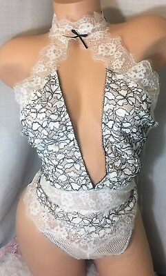 NWT Victoria's Secret Black And White High Neck Lace Teddy Lingerie Size Medium