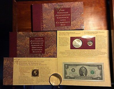 Thomas Jefferson Coinage & Currency Set Complete w/Steel Blue Tone Matte Nickel