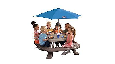 Little Tikes Fold 'N Store Picnic Table with Umbrella for Outdoors - Blue