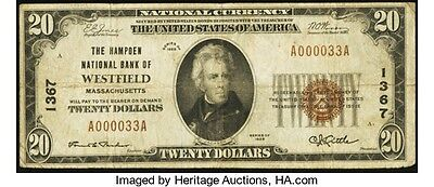 A000033A Low Fancy Serial Number - $20 1929 Ty. 1 The Hampden NB Ch. # 1367