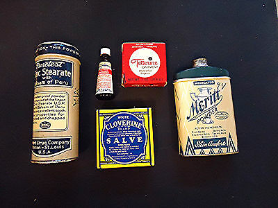 Nice 5-piece lot of early Drug store items
