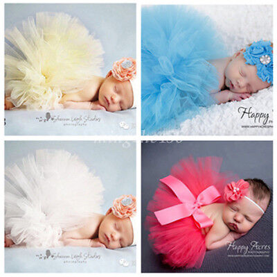 Newborn Baby Photography Props Hairband + TUTU Skirts For Baby Girls Photo Wrap