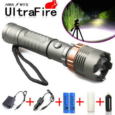 Tactical Police 15000LM XM-L T6 LED 5Modes 18650 Flashlight lamp Battery&Charger