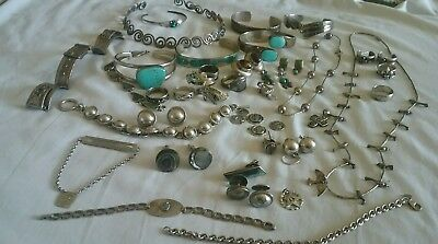 VTG Sterling Silver Jewelry Lot Turquoise, Necklaces bracelets earrings ect 466g